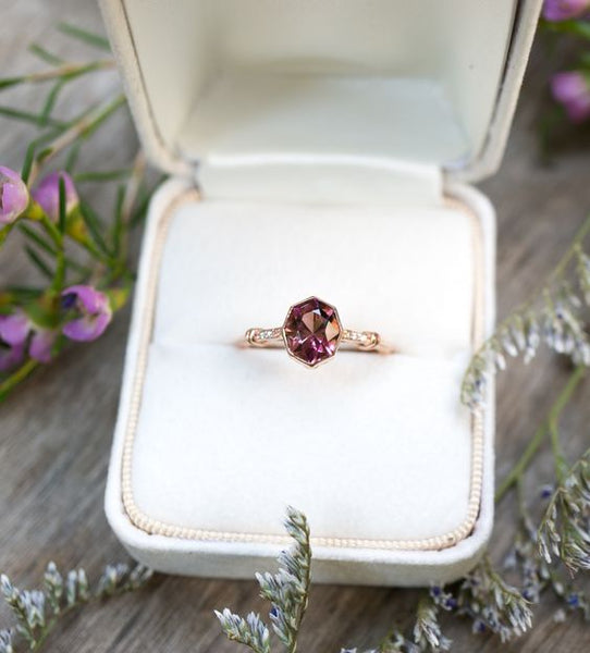 tourmaline diamond alternative engagement ring