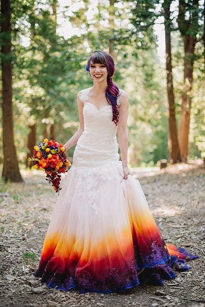 ombre dip dyed wedding gown alternative