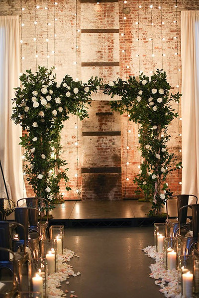 winter wedding copper ceremony aisle