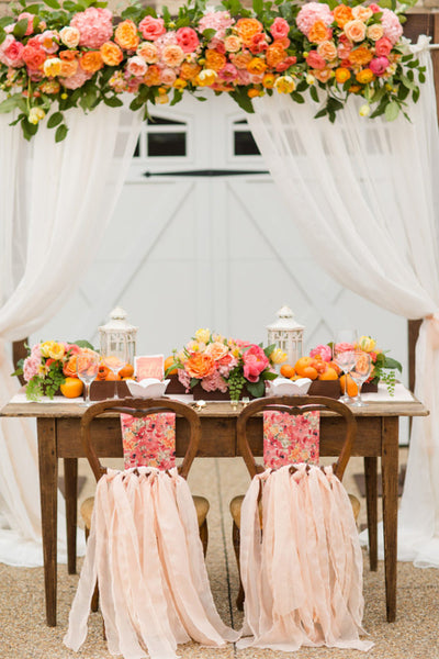 living coral sweetheart table decor