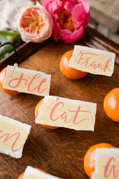 living coral place card tangerines