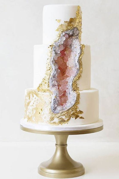 wedding crystals geode cake