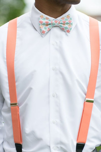 living coral groomsman fashion suspenders