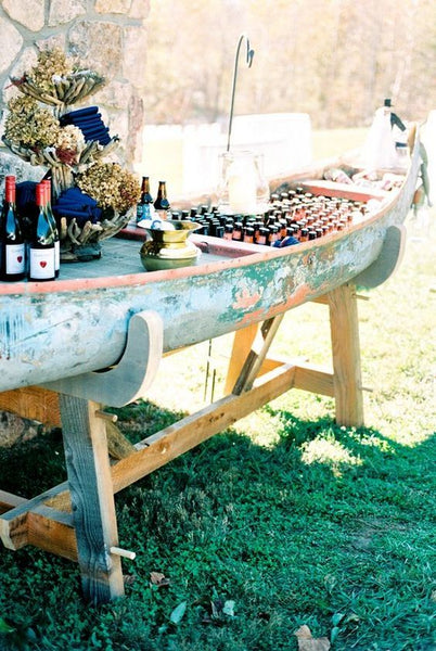 summer camp wedding bar canoe
