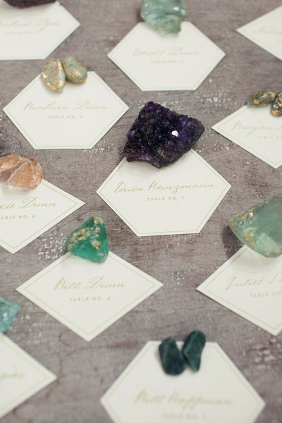 wedding favors place cards healing crystals