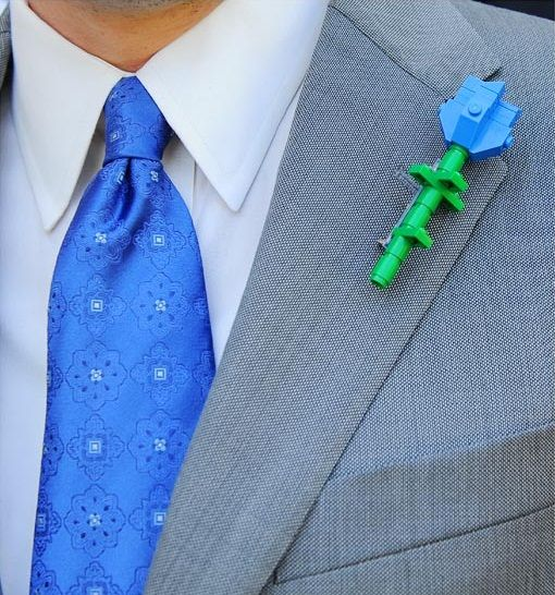 unique boutonniere Lego floral alternative groom