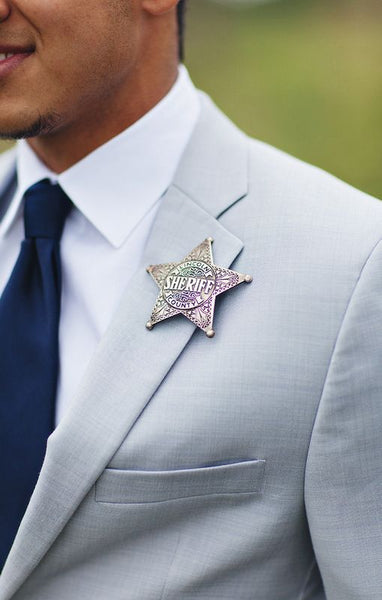 unique non flower boutonniere alternative groom badge