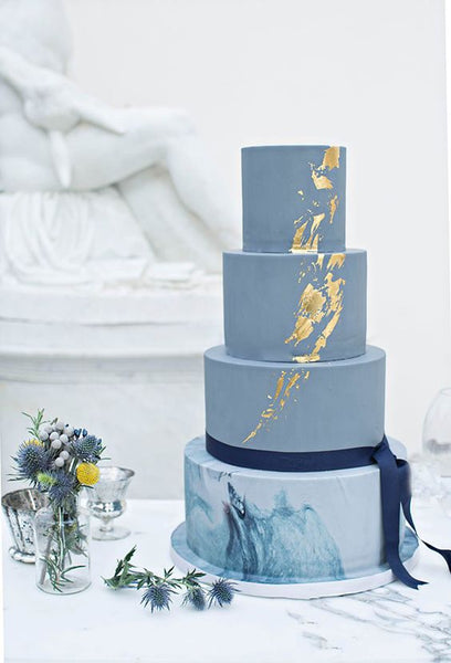 brushed gold metallic wedding cakes blue marble
