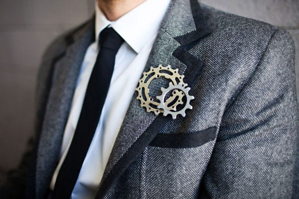 unique boutonniere floral alternative bike gears groom
