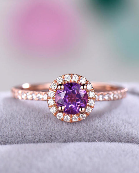 amethyst engagement ring diamond alternative