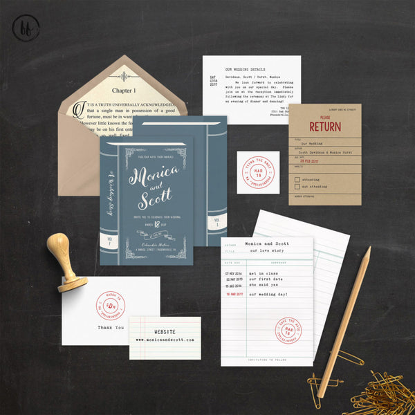literary wedding inspiration books invitation