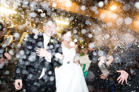wedding send off snow