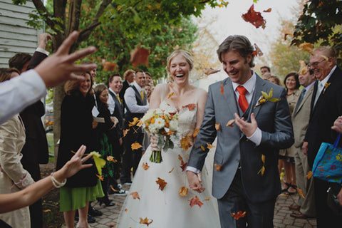 wedding send off autumn leaves
