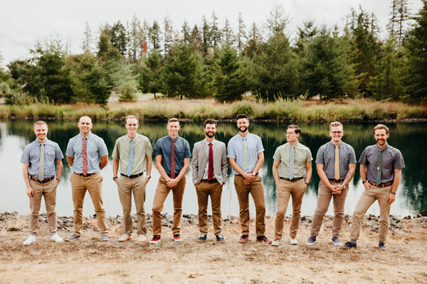 summer camp wedding inspiration groomsmen