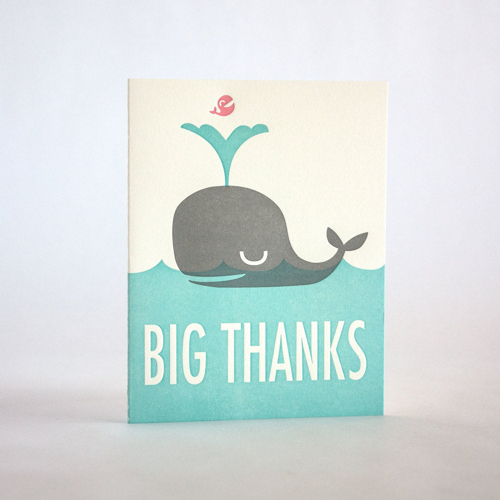 Big Thanks Whale Letterpress Card (Boxed Set)