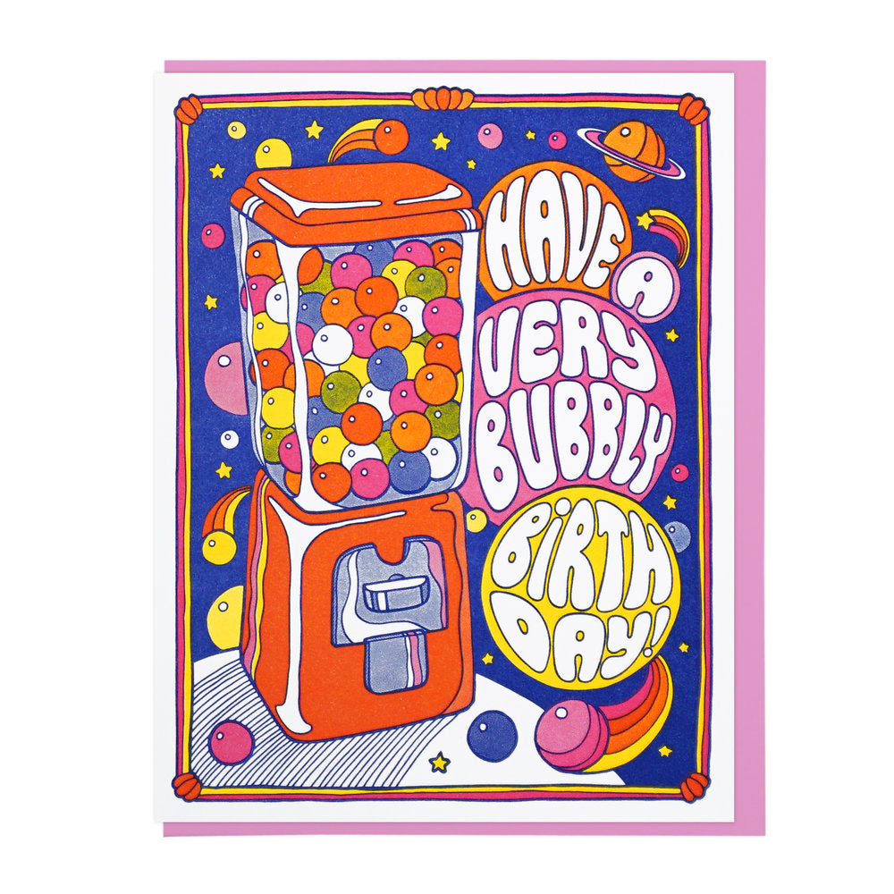 Have a Very Bubbly Birthday bubble gum machine letterpress card