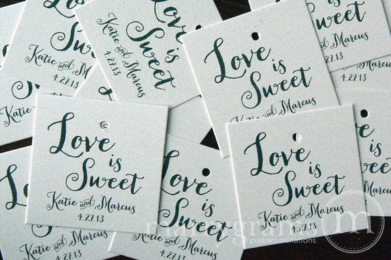 Love is Sweet Custom Wedding Favor Tag Thick Style