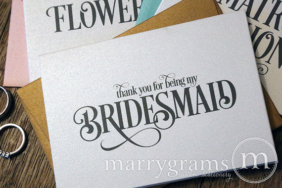 Thank You For Being My Bridal Party Card Enchanting Style