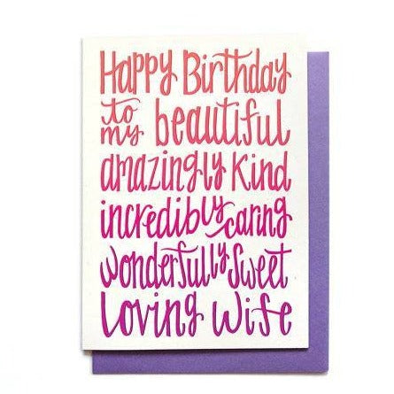 Happy Birthday Wife Card