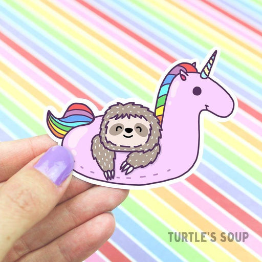 Sloth Unicorn Pool Float Vinyl Sticker