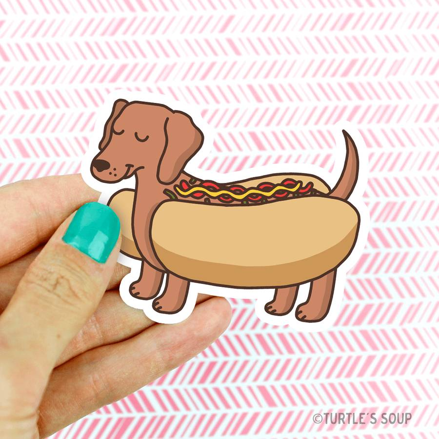 Dachshund Hot Dog Vinyl Sticker