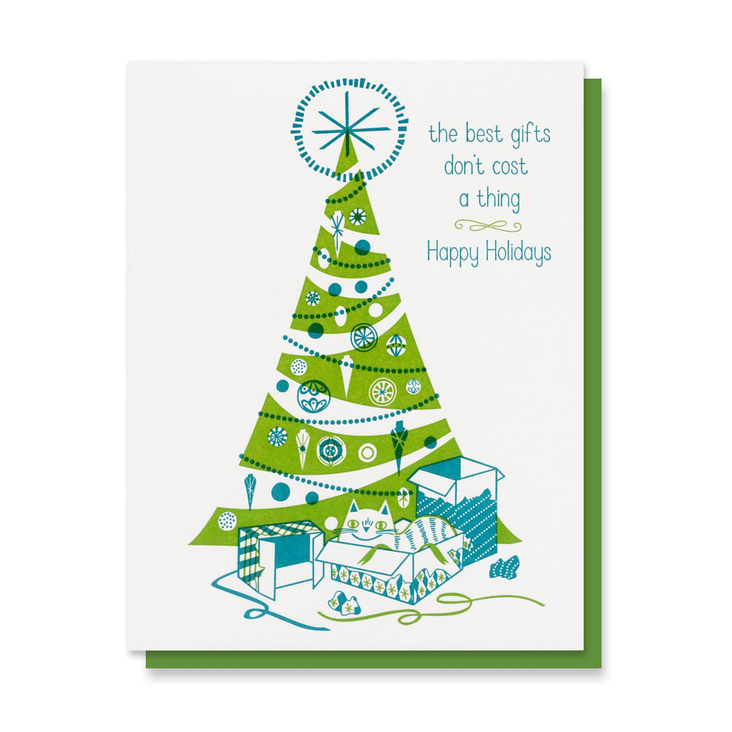 Best Gifts Don't Cost a Thing Tree Holiday Card