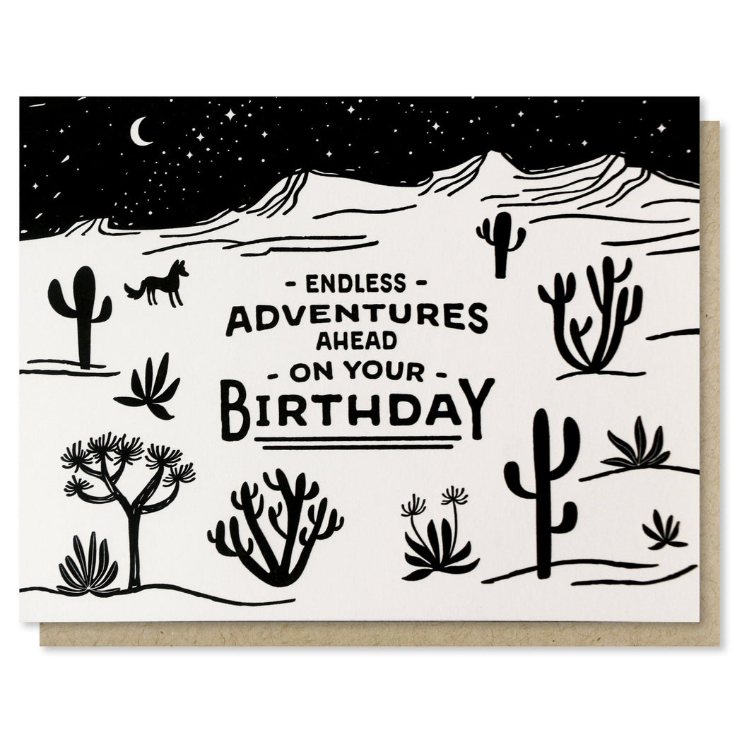 Endless Adventures  Ahead On Your Birthday Card Desert Scene