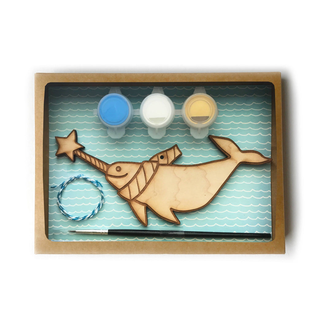DIY paint Holiday Ornament Kit narwhal