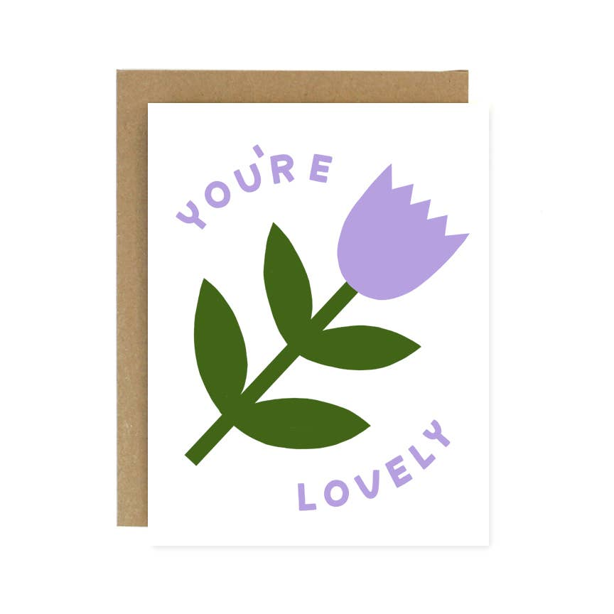 You're Lovely Purple Flower Card