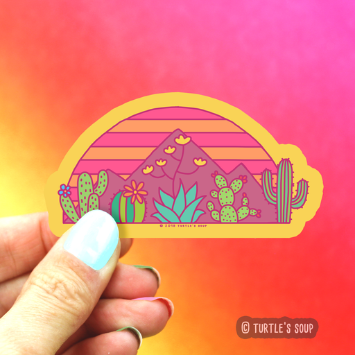 Desert Sunset Cactus Vinyl Sticker