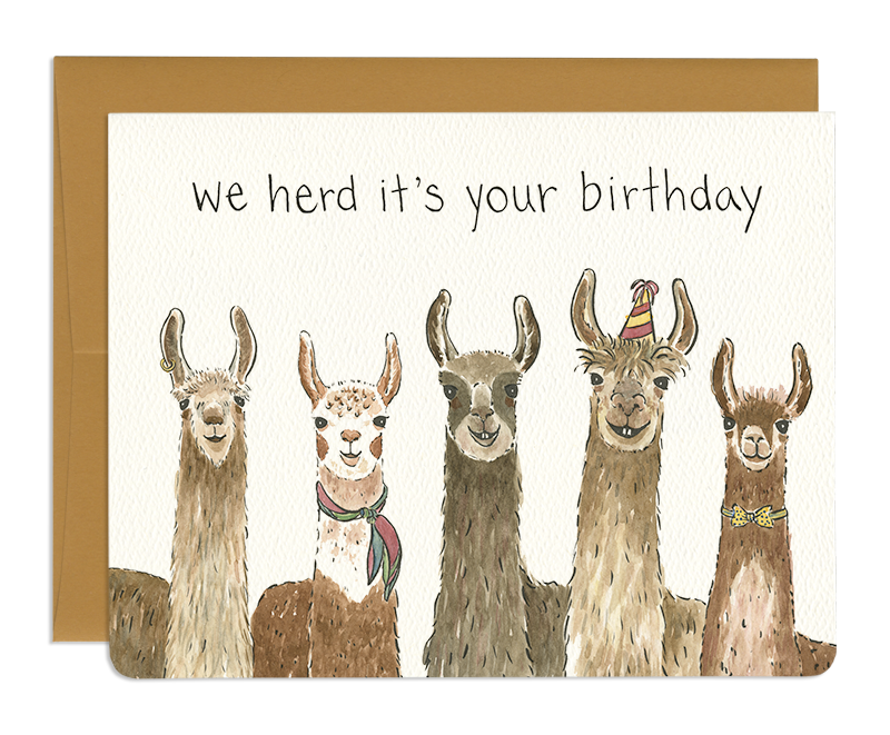 Llama Herd Birthday Card