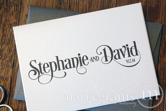 Custom Name & Date Wedding Thank You Card Enchanting Style