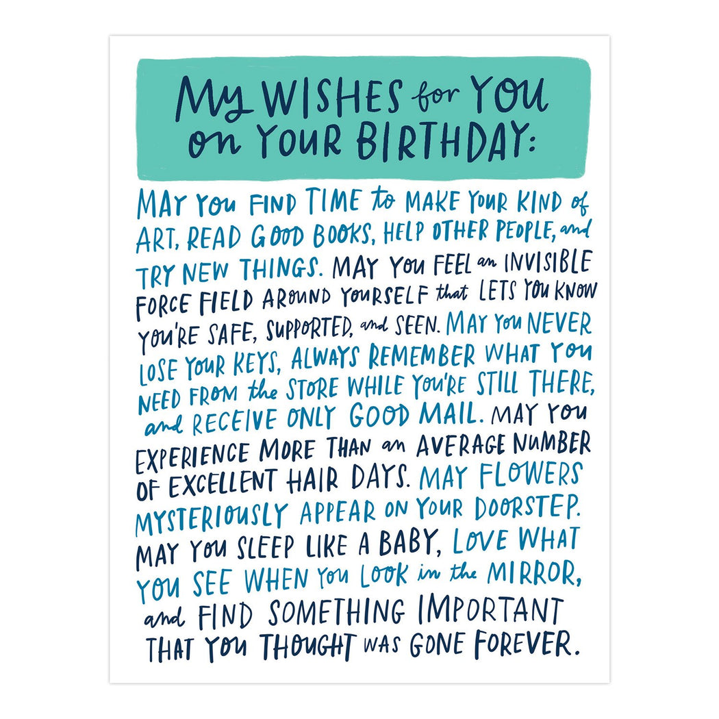 my wishes for you on your birthday card