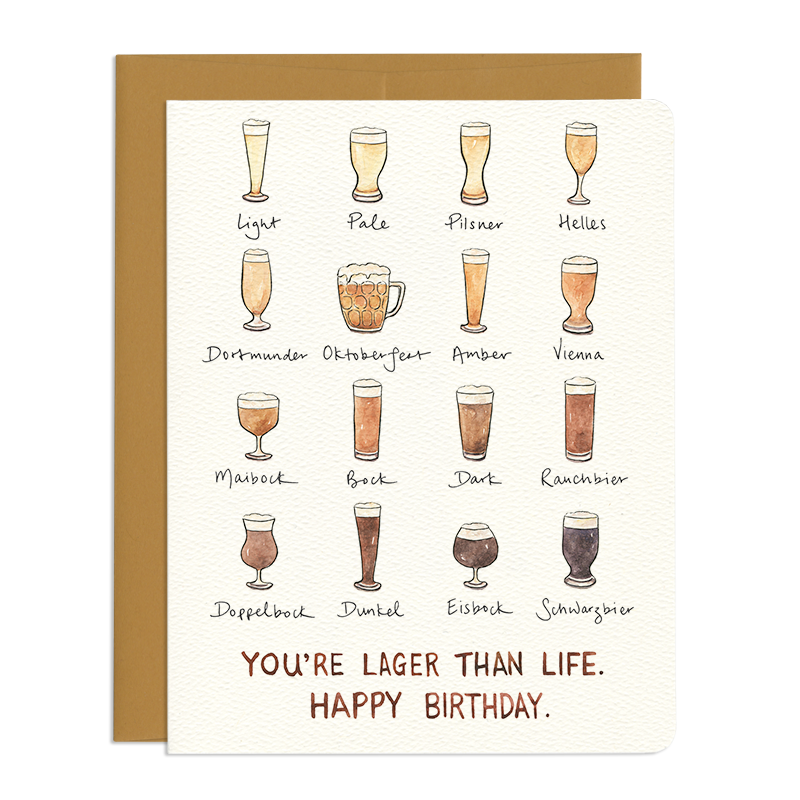 Lager Than Life Birthday Beer Card