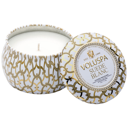 Suede Blanc Petite Tin Candle
