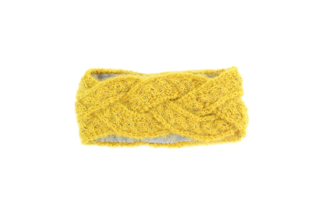 Cable Braid Merino Wool Headband - Mustard