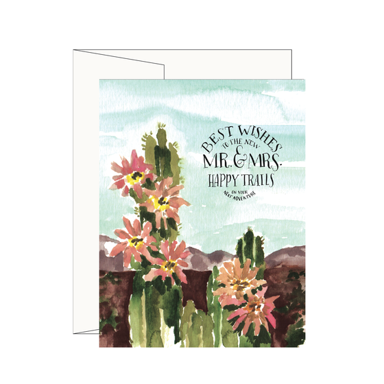 Cactus Wedding Greeting Card - best wishes to the new mr and mrs happy trails on your next adventure