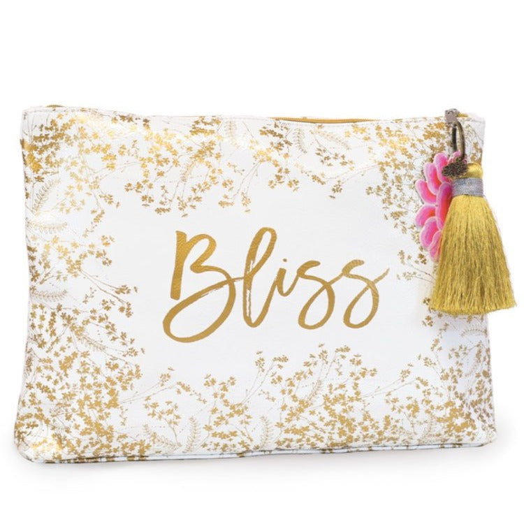 Bliss Gilded Flowers Large Tassel Pouch