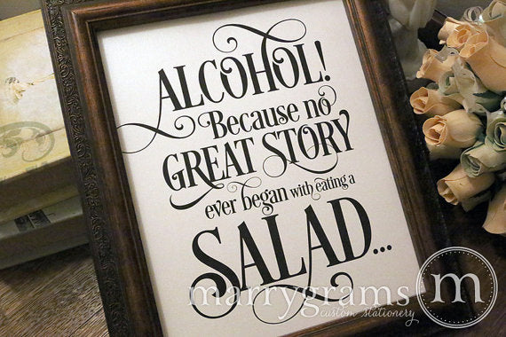 Alcohol Open Bar Fairy Tale Wedding Sign