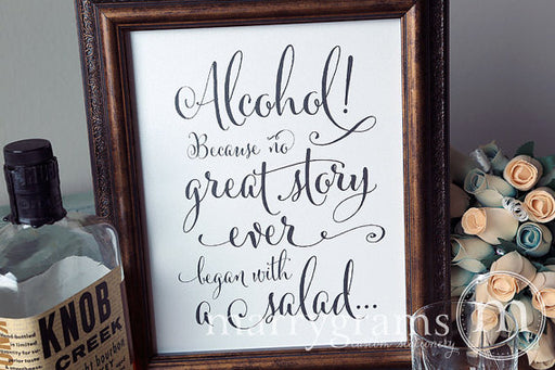 Alcohol Open Bar Wedding Sign Whimsical Style