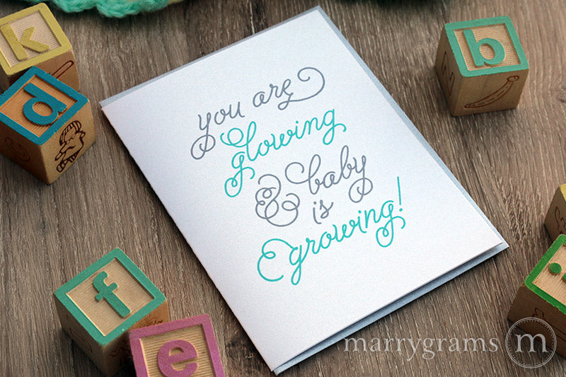 Glowing & Growing, New Baby Pregnancy Card