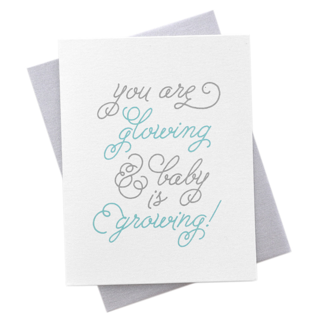 Glowing & Growing, New Baby Pregnancy Card new mom baby shower