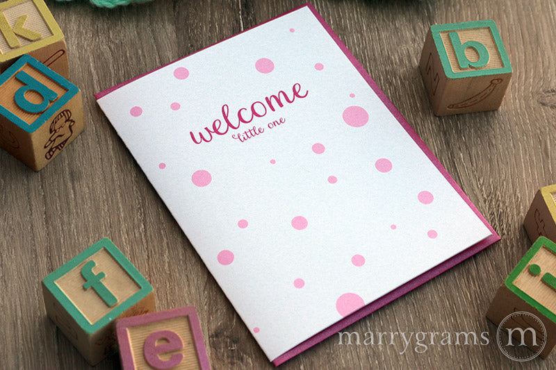 Welcome Little One, New Baby Girl Card polka dots