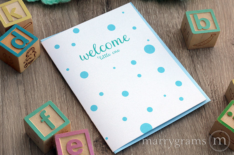 Welcome Little One, New Baby Boy Card polka dots
