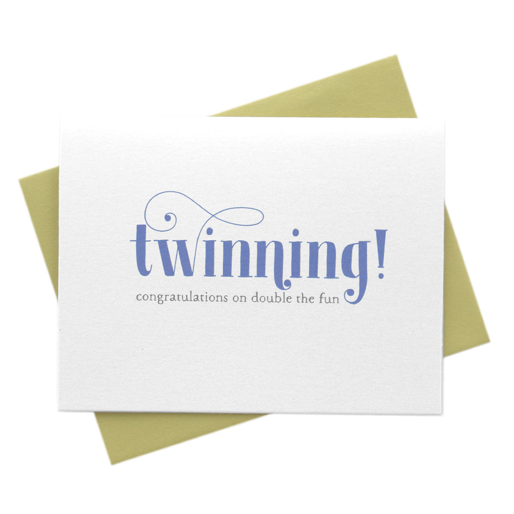 Twinning, Double the Fun New Baby Twins Card