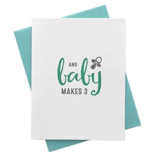 Baby Makes 3, New Parents Congratulations Card