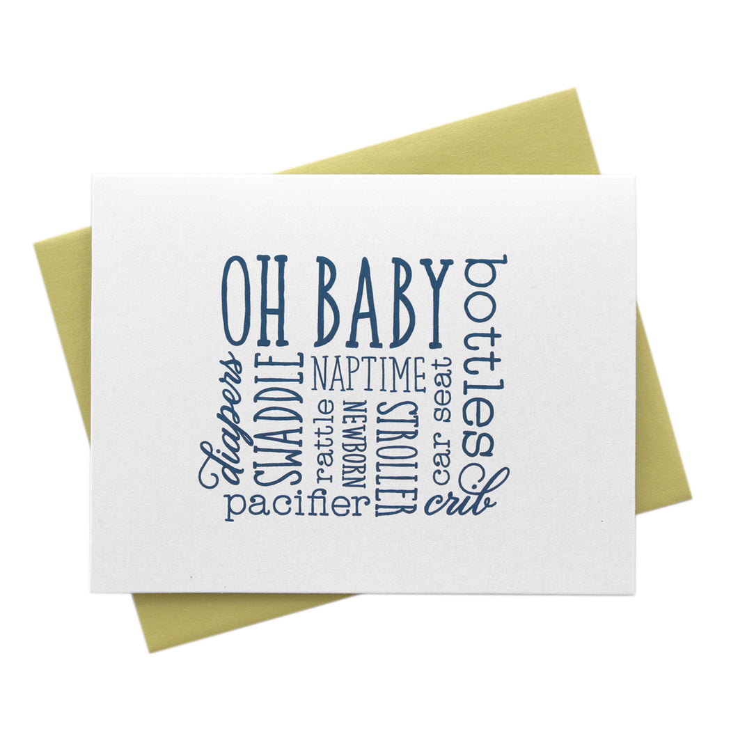 Baby Words, New Baby Congratulations Card
