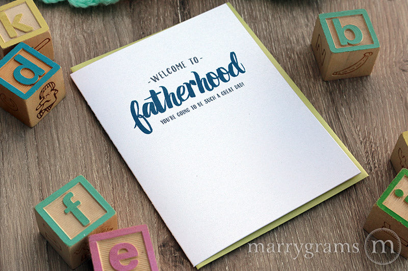 Welcome to Fatherhood, New Dad Baby Card