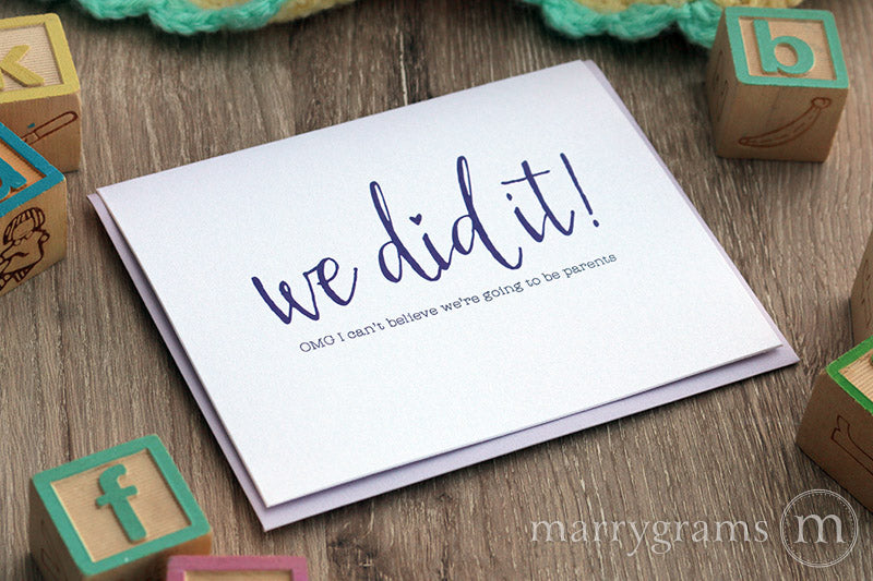 We Did It! Pregnancy, Baby Congratulations Card for Spouse