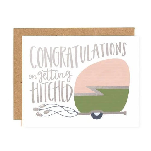 Congratulations on getting Hitched teardrop Camper letterpress Card
